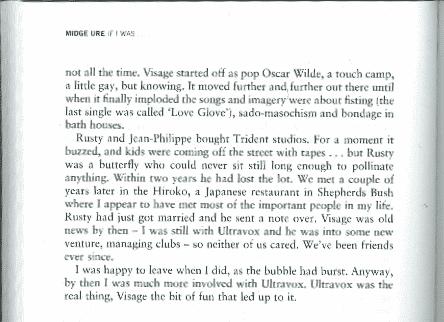 Excerpt from Midge Ure's autobiography.