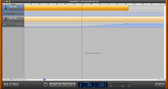 Crossfading in Garage Band between the two versions of the file