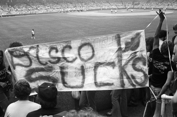 A scene from Disco Demolition Night in Chicago's Comiskey Park, July 12, 1979