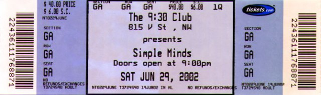 The holy ticket to see Simple Minds in 2002 at the 9:30 club