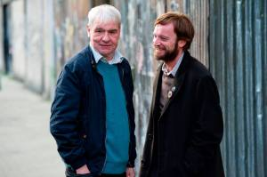 Terri Hooley [L] and his avatar, Richard Dormer [R]