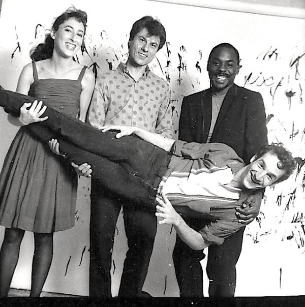 L-R: Deena Shoshkes, Yuergen Renner, Brian Hargrove holding Jon Fried in 1985