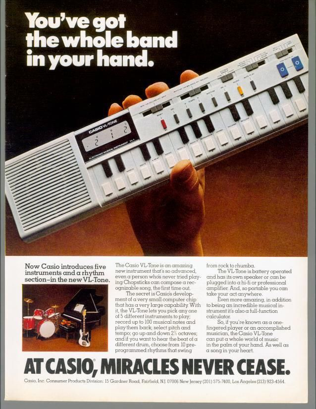 ad for Casio VLT-1 synthesizer in 1981