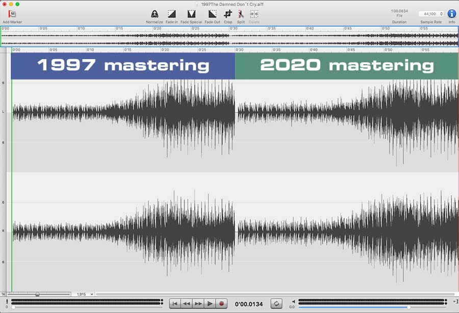 comparison of 1997 and 2020 mastering of visage's the anvil album