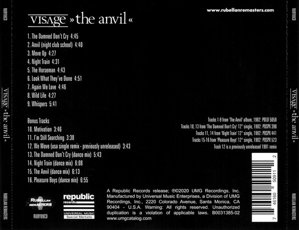 visage the anvil 2020 US Cd back insert