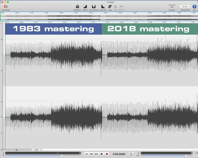 comprison of 1983 and 2018 mastering of visage - waveforms