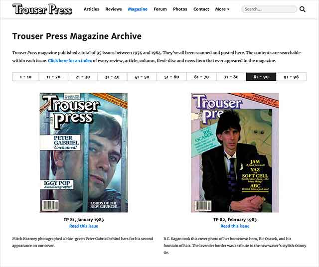 trouser press online magazine archive