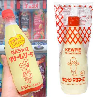 kewpie mayonnaise from Japan and carbonated imposter at left