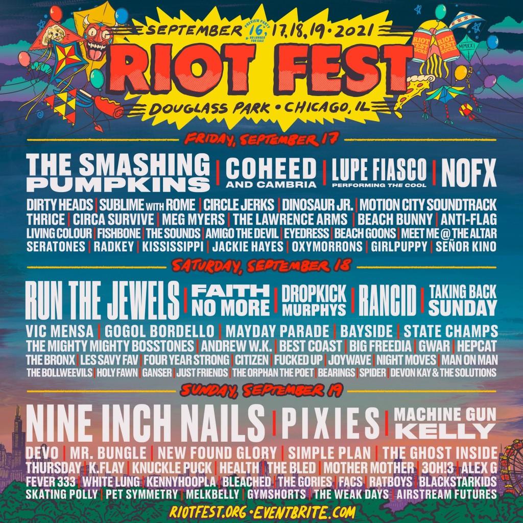 Riot Fest 2021 poster