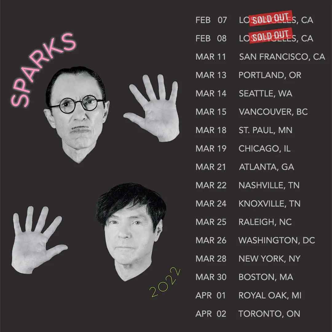 Sparks 2022 North American tour poster